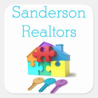 Pegatina Cuadrada Propiedades inmobiliarias, casa y llaves, agente