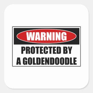 Pegatina Cuadrada Protegido por un Goldendoodle