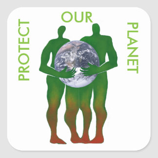 Pegatina Cuadrada Proteja a nuestros pegatinas del planeta