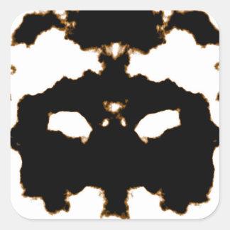 Pegatina Cuadrada Prueba de Rorschach de una tarjeta de la mancha