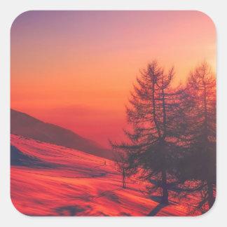 Pegatina Cuadrada Puesta del sol de la tarde Nevado