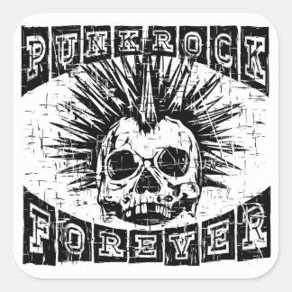 Pegatina Cuadrada punk rock para siempre