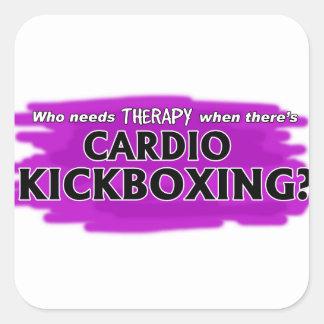 Pegatina Cuadrada ¿Quién necesita terapia cuando hay Kickboxing