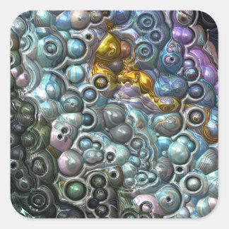 Pegatina Cuadrada Racimos coloridos 3D