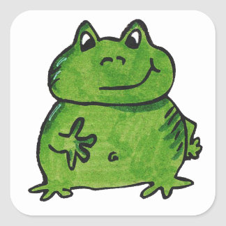 Pegatina Cuadrada Rana Frog