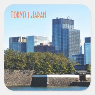 Pegatina Cuadrada Rascacielos en Tokio, Japón