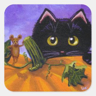 Pegatina Cuadrada Ratón Creationarts del gato negro de Halloween de