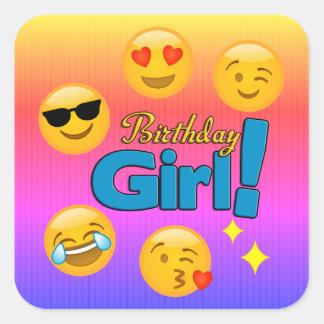 Pegatina Cuadrada Rayas de Emoji Ombre del chica del cumpleaños