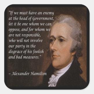 """Pegatina Cuadrada Regalo del """"líder enemigo"""" de Alexander Hamilton"""