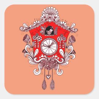 Pegatina Cuadrada Reloj de cuco
