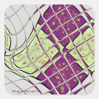 Pegatina Cuadrada Remolino psicodélico púrpura y verde retro