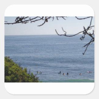 Pegatina Cuadrada resaca de la playa de Laguna