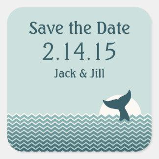 Pegatina Cuadrada Reserva náutica de la cola de la ballena la fecha