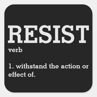 Pegatina Cuadrada Resista por definición