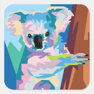 Pegatina Cuadrada Retrato colorido de la koala del arte pop