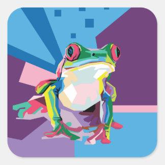 Pegatina Cuadrada Retrato colorido de la rana arbórea