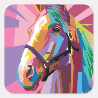 Pegatina Cuadrada Retrato colorido del caballo del arte pop
