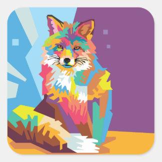 Pegatina Cuadrada Retrato colorido del Fox del arte pop