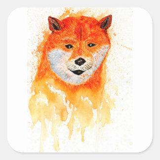 Pegatina Cuadrada Retrato de Shiba Inu