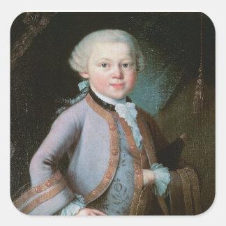 Pegatina Cuadrada Retrato de Wolfgang Amadeus Mozart