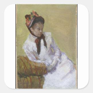 Pegatina Cuadrada Retrato del artista - Mary Cassatt