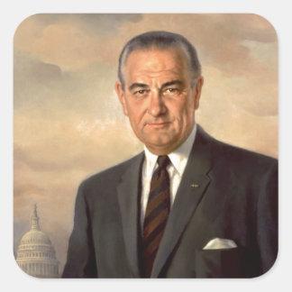 Pegatina Cuadrada Retrato del funcionario de Lyndon Johnson