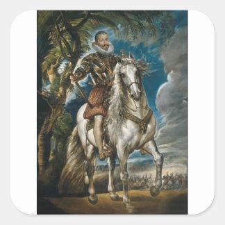 Pegatina Cuadrada Retrato ecuestre del duque de Lerma - Rubens