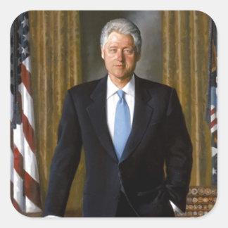Pegatina Cuadrada Retrato oficial de la Casa Blanca de Bill Clinton