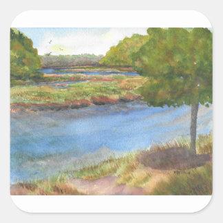 Pegatina Cuadrada río del squamscott en newfields el 31 de julio de