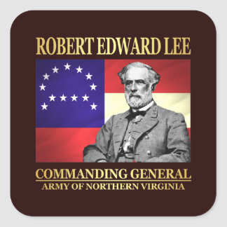 Pegatina Cuadrada Robert E Lee (general en jefe)