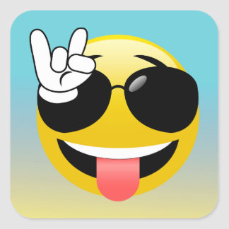 Pegatina Cuadrada Roca en los pegatinas sonrientes de Emoji Ombre