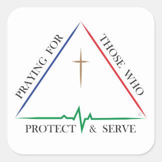 Pegatina Cuadrada Rogación para los que protegen y sirven