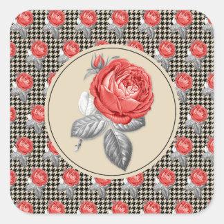 Pegatina Cuadrada Rosas del vintage y modelo rosados del houndstooth