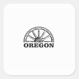 Pegatina Cuadrada rueda simple del rastro de Oregon
