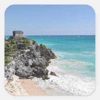 Pegatina Cuadrada Ruinas mayas en Tulum México