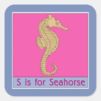 Pegatina Cuadrada S está para el alfabeto animal del Seahorse para