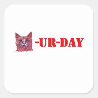 Pegatina Cuadrada Sábado es Caturday