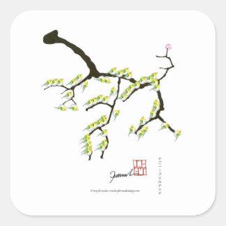 Pegatina Cuadrada Sakura con los pájaros verdes, fernandes tony