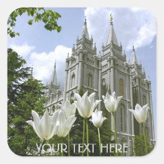 Pegatina Cuadrada Salt Lake Sity, templo de LDS