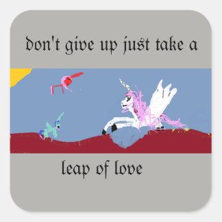 Pegatina Cuadrada Salto del amor
