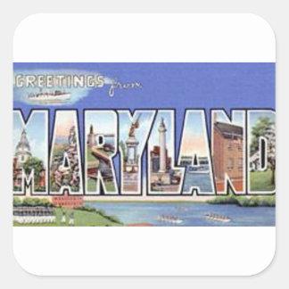Pegatina Cuadrada Saludos de Maryland
