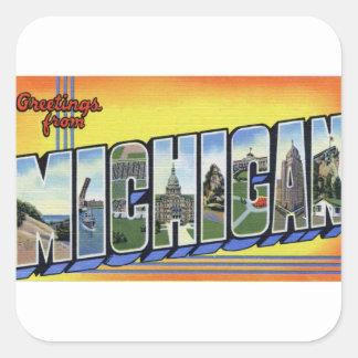 Pegatina Cuadrada Saludos de Michigan