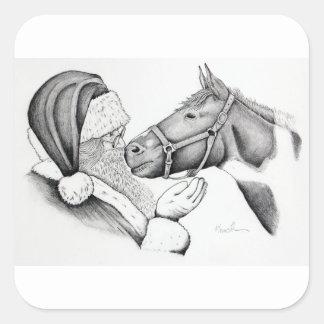 Pegatina Cuadrada Santa-and-Horse-1