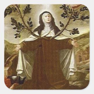 Pegatina Cuadrada Santo Teresa de la monja carmelita de Ávila