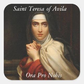 Pegatina Cuadrada Santo Teresa de la monja carmelita Ora favorable
