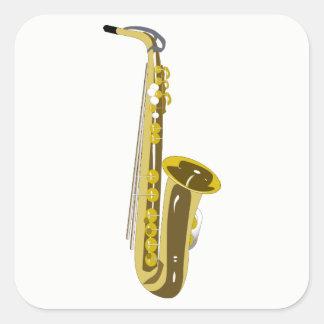 Pegatina Cuadrada Saxofón