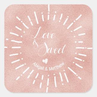 Pegatina Cuadrada Se ruboriza el amor color de rosa del resplandor