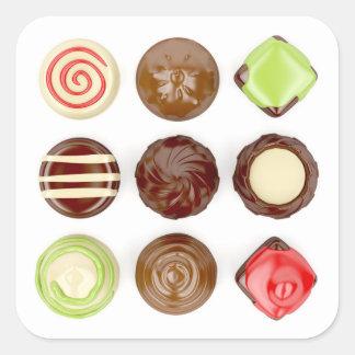 Pegatina Cuadrada Selección de caramelos de chocolate