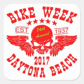 Pegatina Cuadrada Semana 2017r de la bici de Daytona Beach del