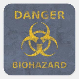 Pegatina Cuadrada Señal de peligro apenada del Biohazard